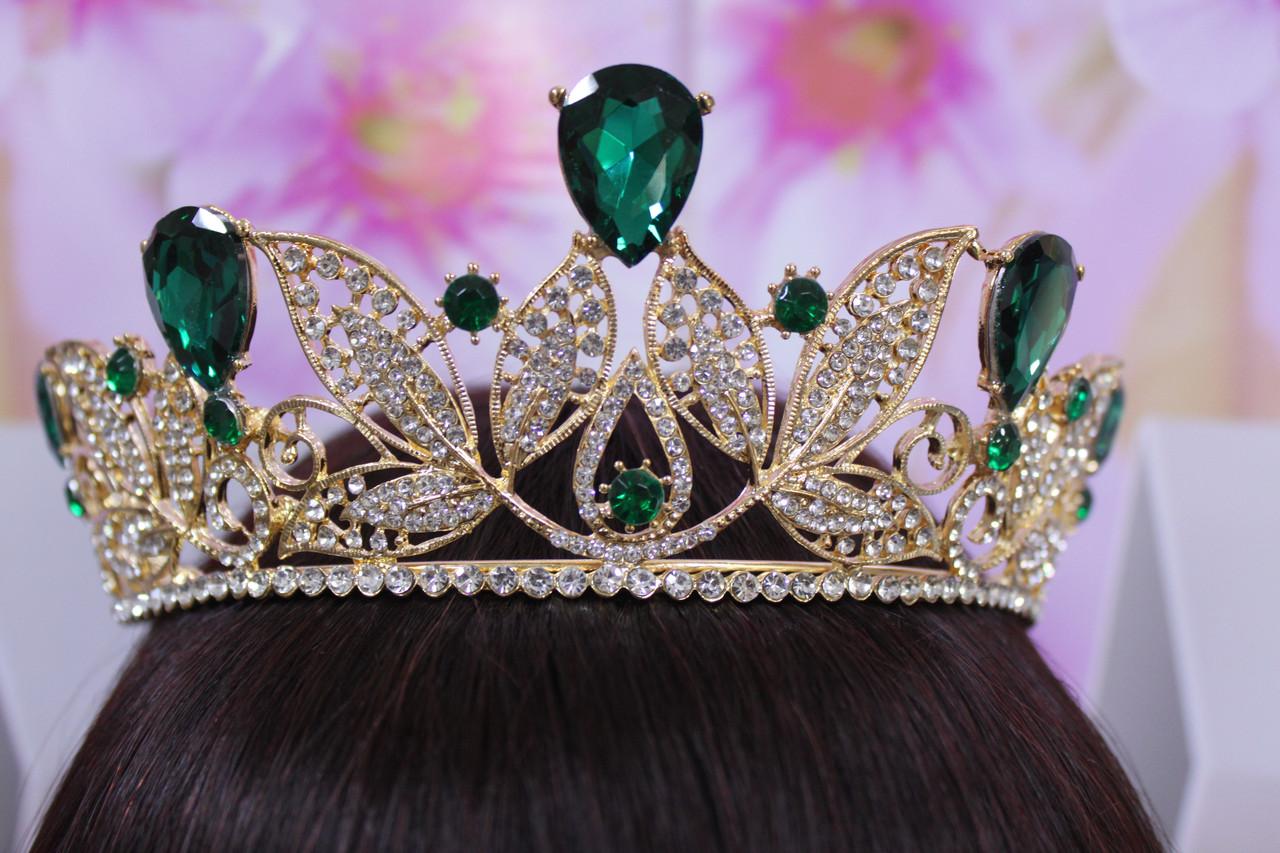 Роскошная золотая диадема корона с зелеными и белыми камнями горный хрусталь