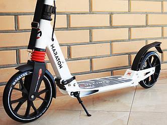 Самокат двухколесный складной Maraton Decider Алюминиевая рама, колеса 200 мм, амортизаторы, ручной тормоз