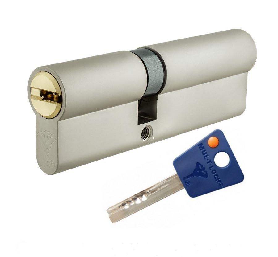 Цилиндр Mul-t-lock 7х7 ключ/ключ никель сатин 82 мм