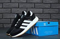 Черные кроссовки Adidas Iniki Runner Black White (Адидас Иники Раннер черно-белого цвета) весна\лето\осень