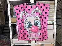 Детское яркое полотенце пончо 60*120 Зайчик Цвет розовый велюр-махра 3D принт 100% Хлопок