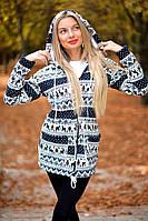 Молодежная женская парка на молнии с капюшоном трикотаж на меху