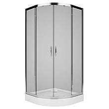 REKORD душевая кабина 90см, полукруглая, прозрачное стекло, профиль серебристый металлик