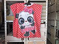 Пляжное детское яркое полотенце пончо Пандочка 60*120 Цвет красный велюр-махра 3D принт 100% Хлопок