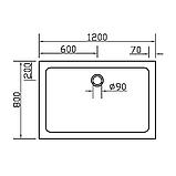 Поддон SMC 80*120*3,5см прямоугольный, фото 2