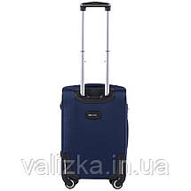Тканевый чемодан маленький для ручной клади на 4-х колесах Wings 1609 синего цвета, фото 3