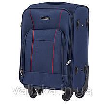 Тканевый чемодан маленький для ручной клади на 4-х колесах Wings 1609 синего цвета, фото 2
