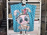 Детское яркое полотенце пончо Зайчик 60*120 Цвет голубой велюр-махра 3D принт 100% Хлопок