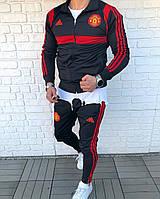 Спортивный костюм мужской чёрно-красный Адидас Манчестер Юнайтед реплика чёрный спортивный костюм мужской