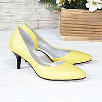 Туфли женские на невысокой шпильке, натуральная кожа флотар желтого цвета. 36 размер