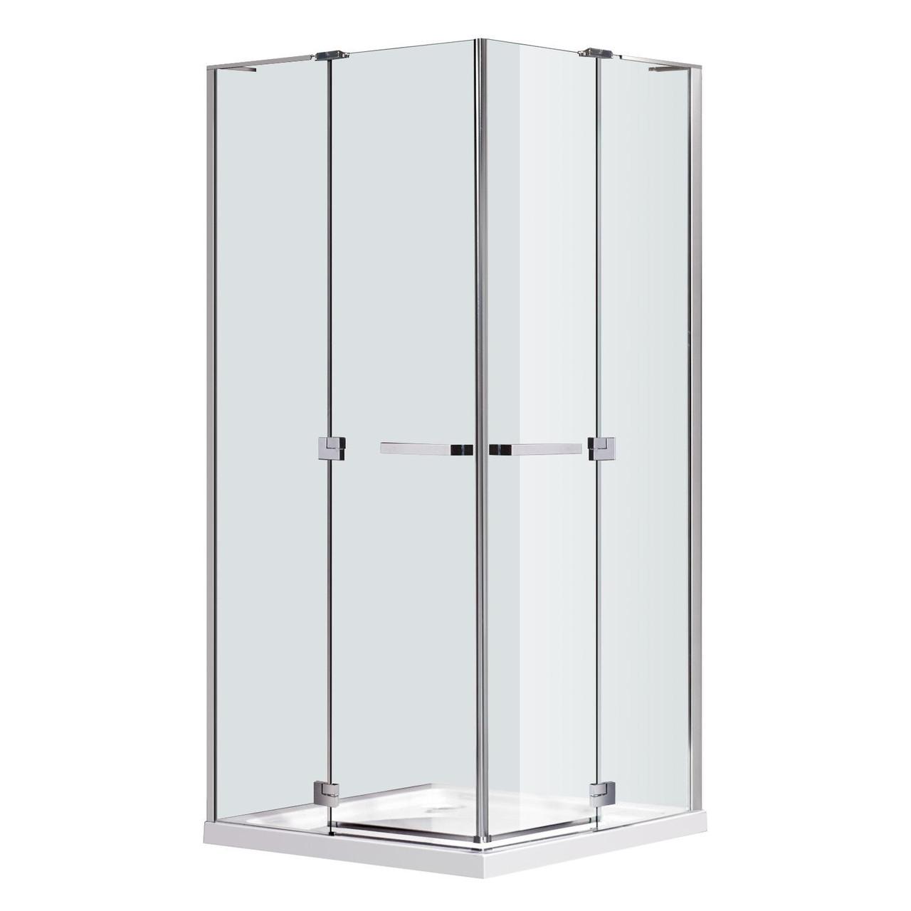 RUBIK душевая кабина 100*100*190см квадратная (стекла + двери), распашные двери, стекло прозрачное 8мм