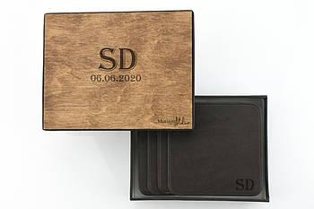 Кожаные костеры подставки `Slate` коричневого цвета