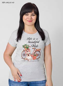 / Размер 44,46,48 / Женская футболка с принтом