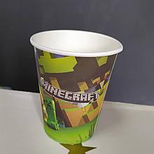 Набір паперових стаканів принт MinecraftМайнкрафт 250мл 5шт.