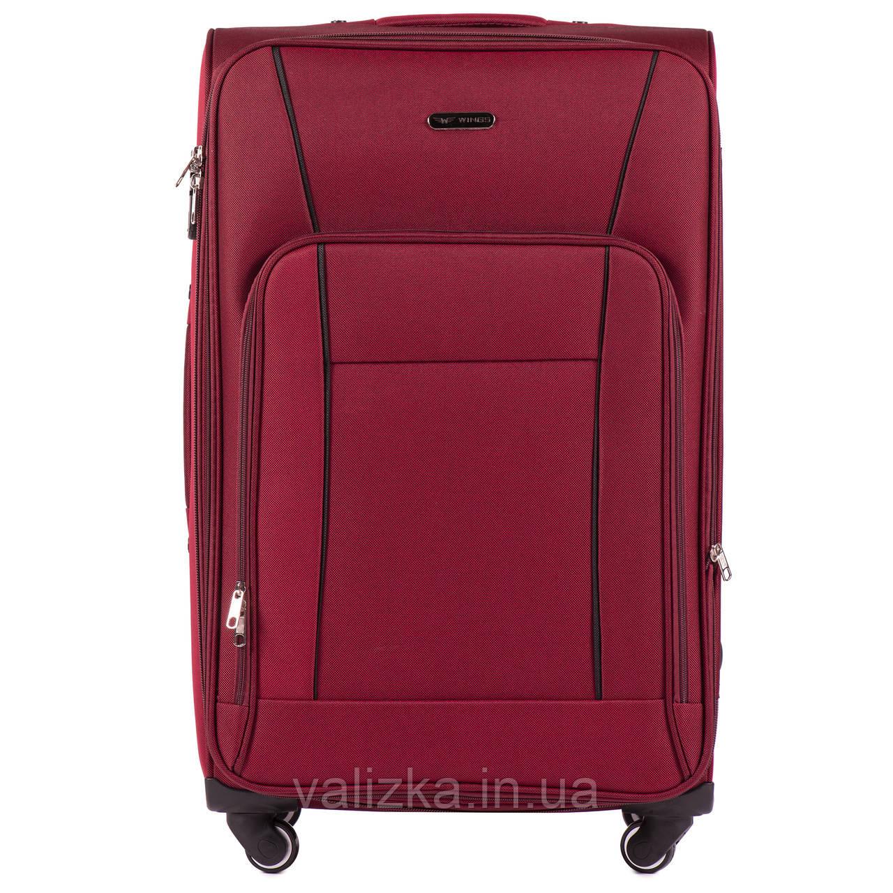 Большой тканевый чемодан красный на 4-х колесах Wings 1609