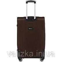 Великий тканинний коричневий чемодан на 4-х колесах Wings 1609, фото 3