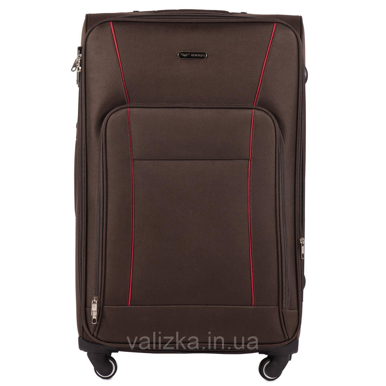 Большой тканевый чемодан коричневый на 4-х колесах Wings 1609