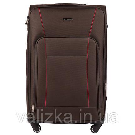 Великий тканинний коричневий чемодан на 4-х колесах Wings 1609, фото 2