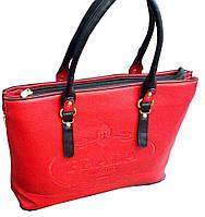 Женская сумка PRADA красная с черными ручками