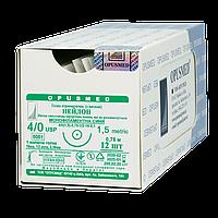 Нейлон монофіламент синій USP (EP): 4/0(1,5), 0,75м, Колюча голка 16мм 1/2, OPUSMED® (полиамид)