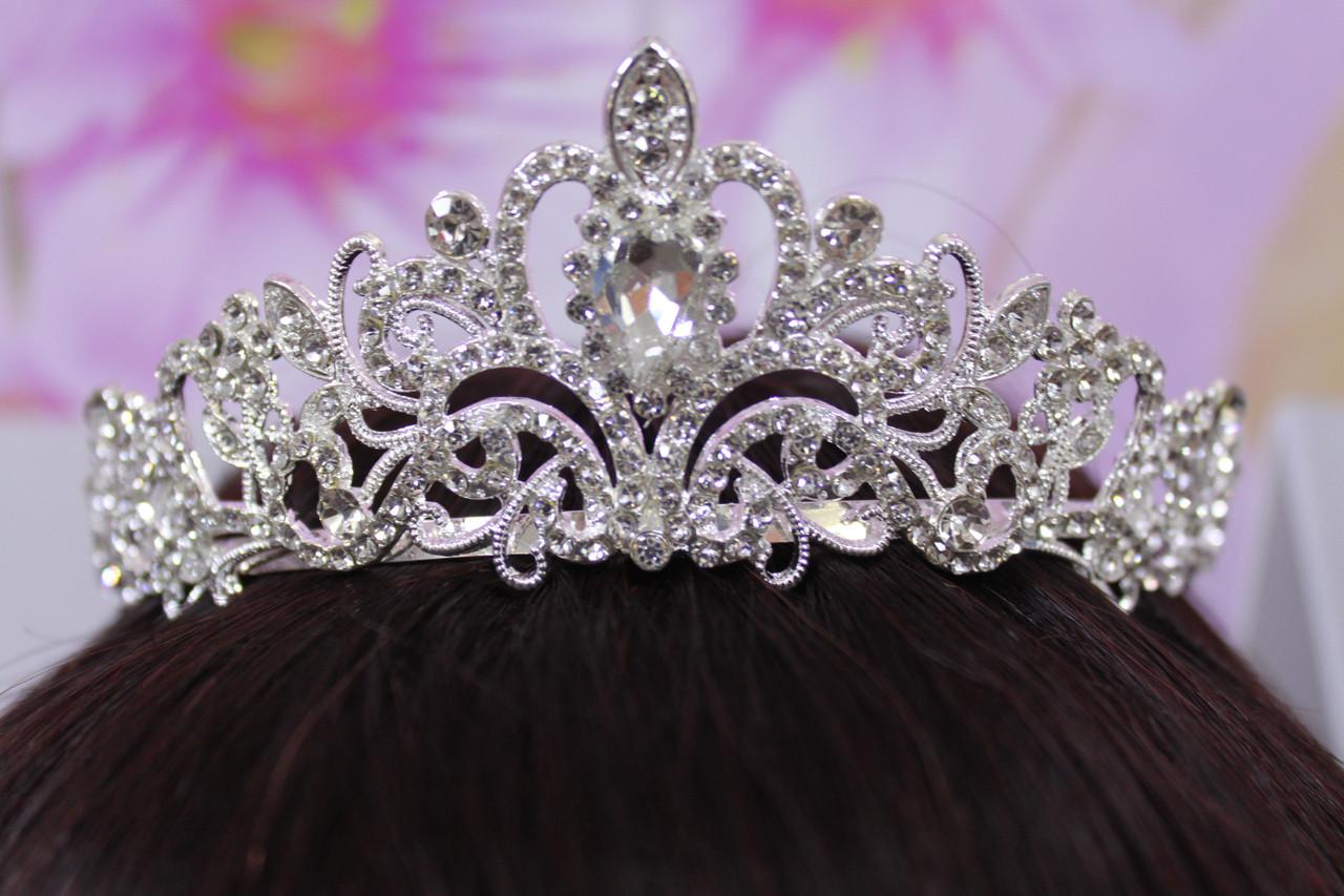 Нарядная серебряная тиара корона с белыми камнями горный хрусталь стразами для свадебных причесок выпускных