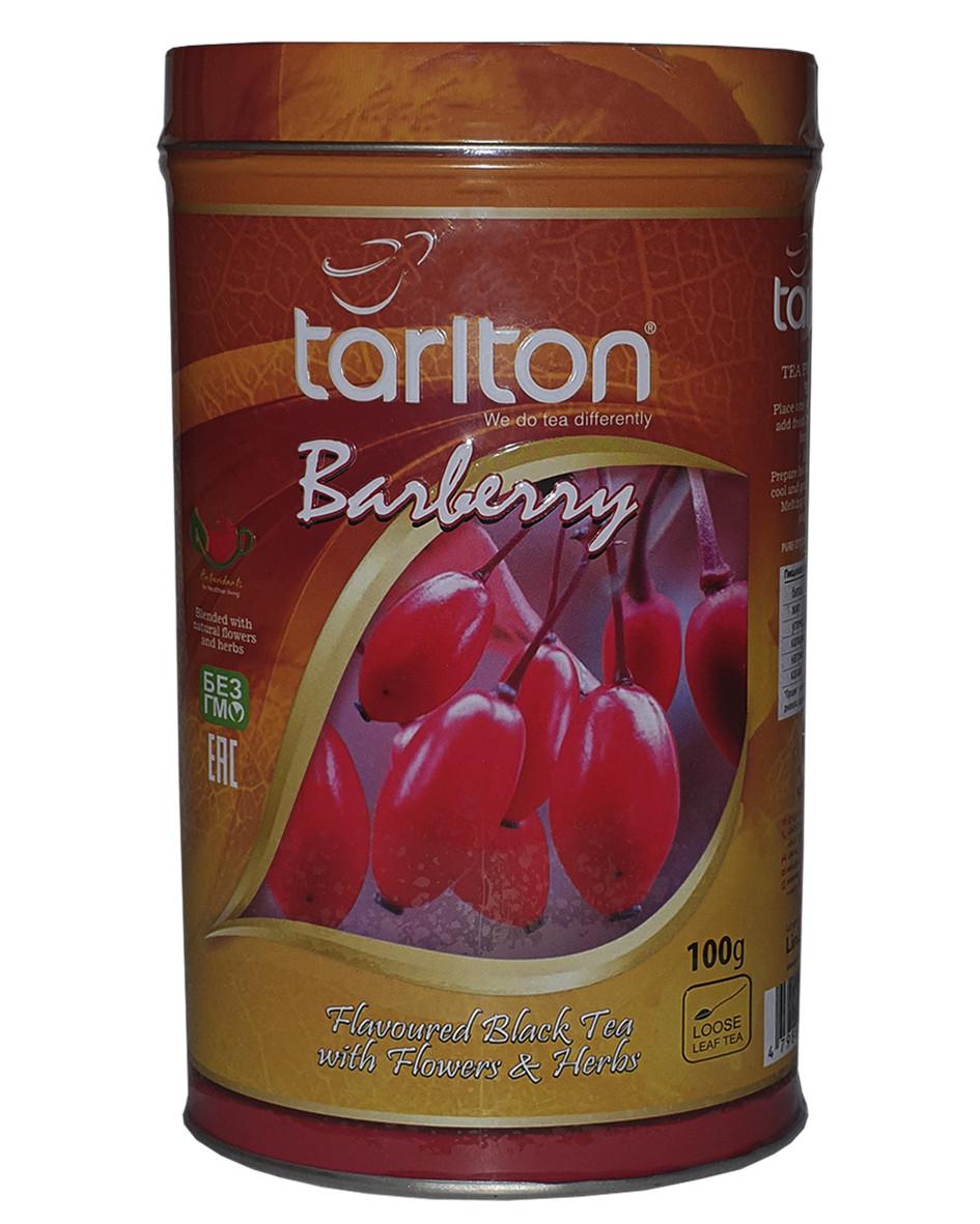 Черный чай Tarlton Барбарис цейлонский листовой 100 грамм в жестяной банке