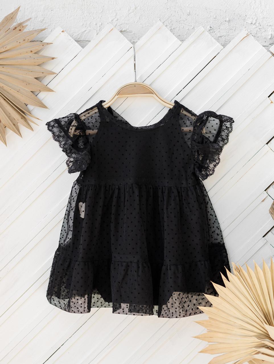 Фатиновое платье с боди, Черное