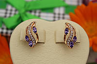 Серьги 1,8 см с фиолетовыми камнями