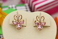 Серьги 1,8 см розовый камень