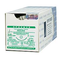 Нейлон монофіламент синій USP (EP): 3/0(2), 0,75м, Колюча голка 24мм 3/8, OPUSMED® (полиамид)