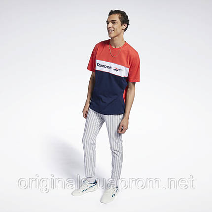 Хлопковая футболка Reebok Classics Linear FJ3346 для парней и мужчин М трехцветная, фото 2