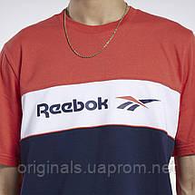 Хлопковая футболка Reebok Classics Linear FJ3346 для парней и мужчин М трехцветная, фото 3