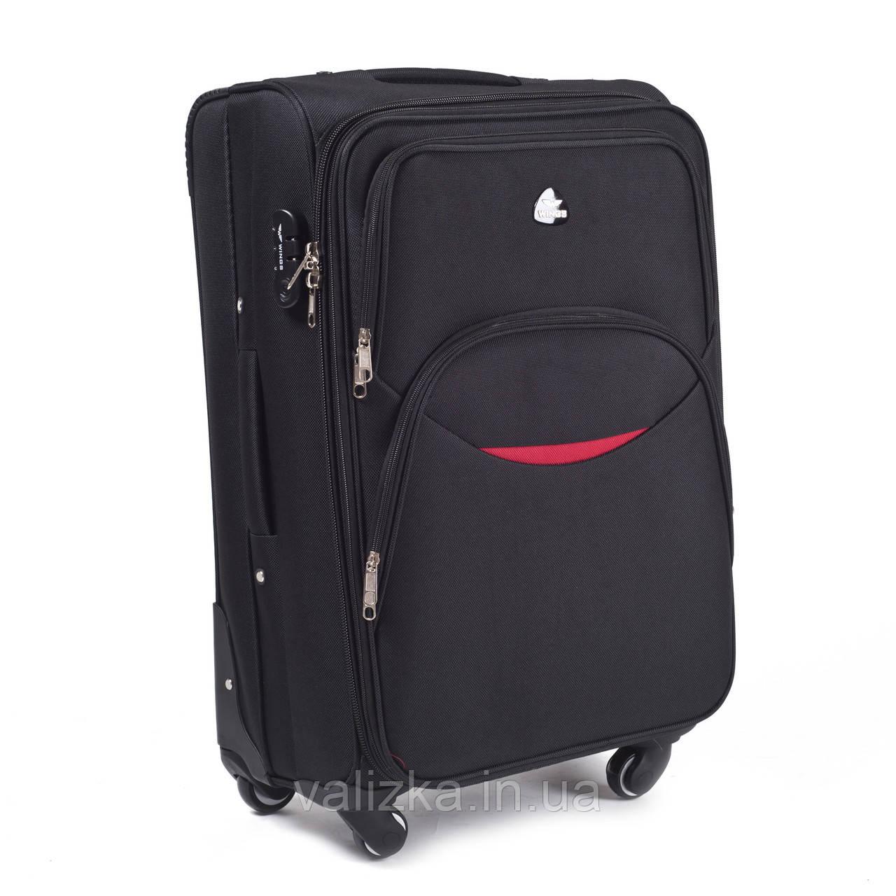 Тканевый чемодан маленький для ручной клади на 4-х колесах Wings 1708 черного цвета