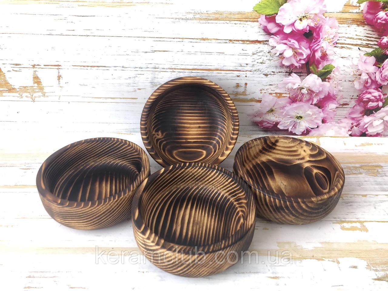 Набор деревянных пиал из натурального дерева h 4,5 см d 12 см