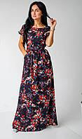 Пастельное серое летнее платье молодежного кроя с карманами и поясом размеры 44-46,48-50,52-54 Красные цветы