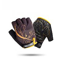 Перчатки для фитнеса женские Orange Way4you, полиэстер, черный/оранжевый (ВФЮ 1743)