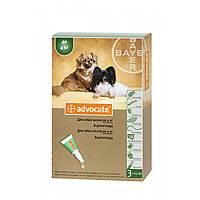 Капли Advocate Адвокат от глистов, блох, клещей для собак весом до 4 кг, 1 пипетка х0,4мл