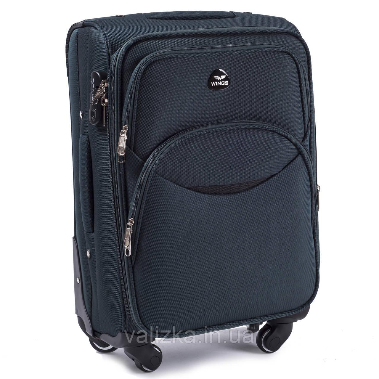 Тканевый чемодан маленький для ручной клади на 4-х колесах Wings 1708 темно-зеленого цвета