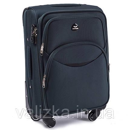 Тканевый чемодан маленький для ручной клади на 4-х колесах Wings 1708 темно-зеленого цвета, фото 2