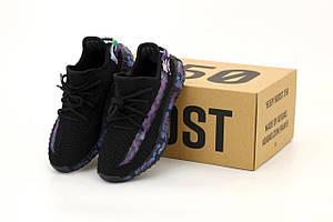 Кроссовки Adidas Yeezy Boost 350 V2 Black Blue Camo Reflective (Женские Адидас Изи Буст черные с синим хаки)