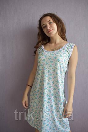 Сорочка ночная без руковов колокольчик голубой, фото 2