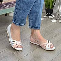 Балетки женские кожаные на низком ходу, цвет белый/пудра. 39 размер