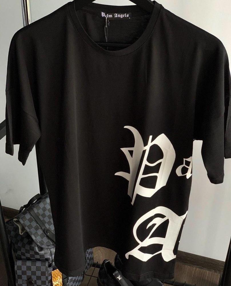 Мужская футболка с принтом хлопок летняя молодежная Palm Angels черная Турция. Живое фото. Топ качество