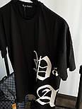 Мужская футболка с принтом хлопок летняя молодежная Palm Angels черная Турция. Живое фото. Топ качество, фото 3