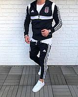 Чёрный мужской спортивный костюм футбольный Adidas копия с белыми лампасами S размер