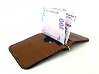 Кожаный мужской зажим для денег ручной работы коричневого цвета Tsar.store