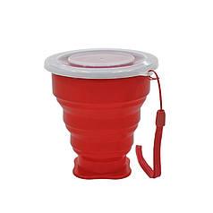 Стакан складной Cumenss Red 200мл силиконовый с крышкой и металлическим ободком чашка трансформер