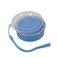 Стакан складной силиконовый Cumenss 200мл Blue с крышкой и металлическим ободком кружка-трансформер, фото 2