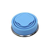 Стакан складной силиконовый Cumenss 200мл Blue с крышкой и металлическим ободком кружка-трансформер, фото 3
