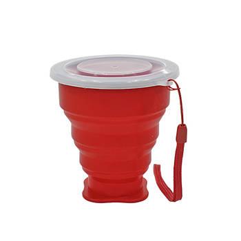 Стакан складной силиконовый Cumenss 200мл Red с крышкой и металлическим ободком кружка-трансформер